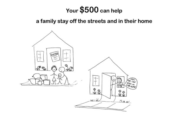 Your $500 can help a family stay off the streets and in their home